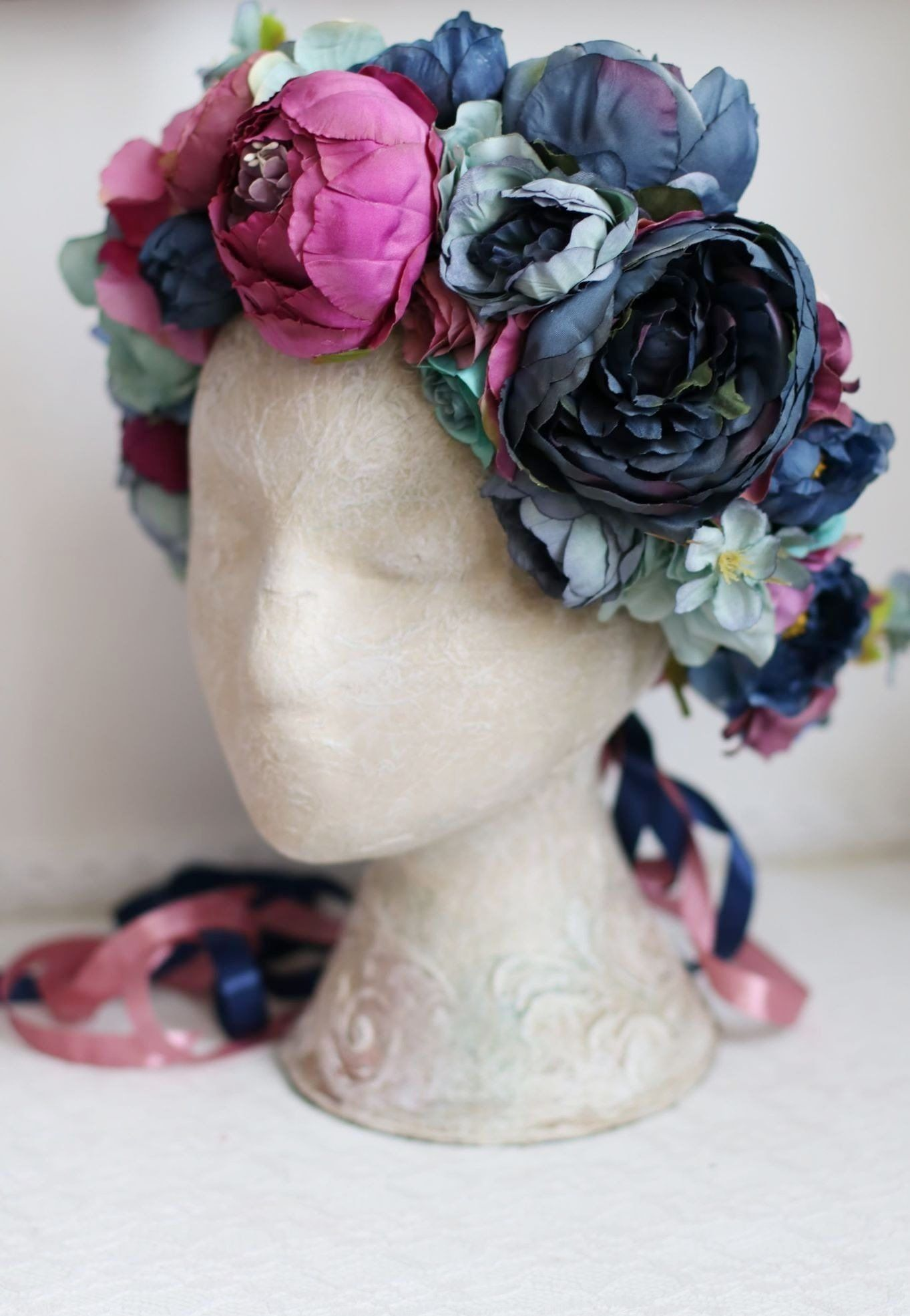 Blue navy fuchsia lilac large flower crown peony rose