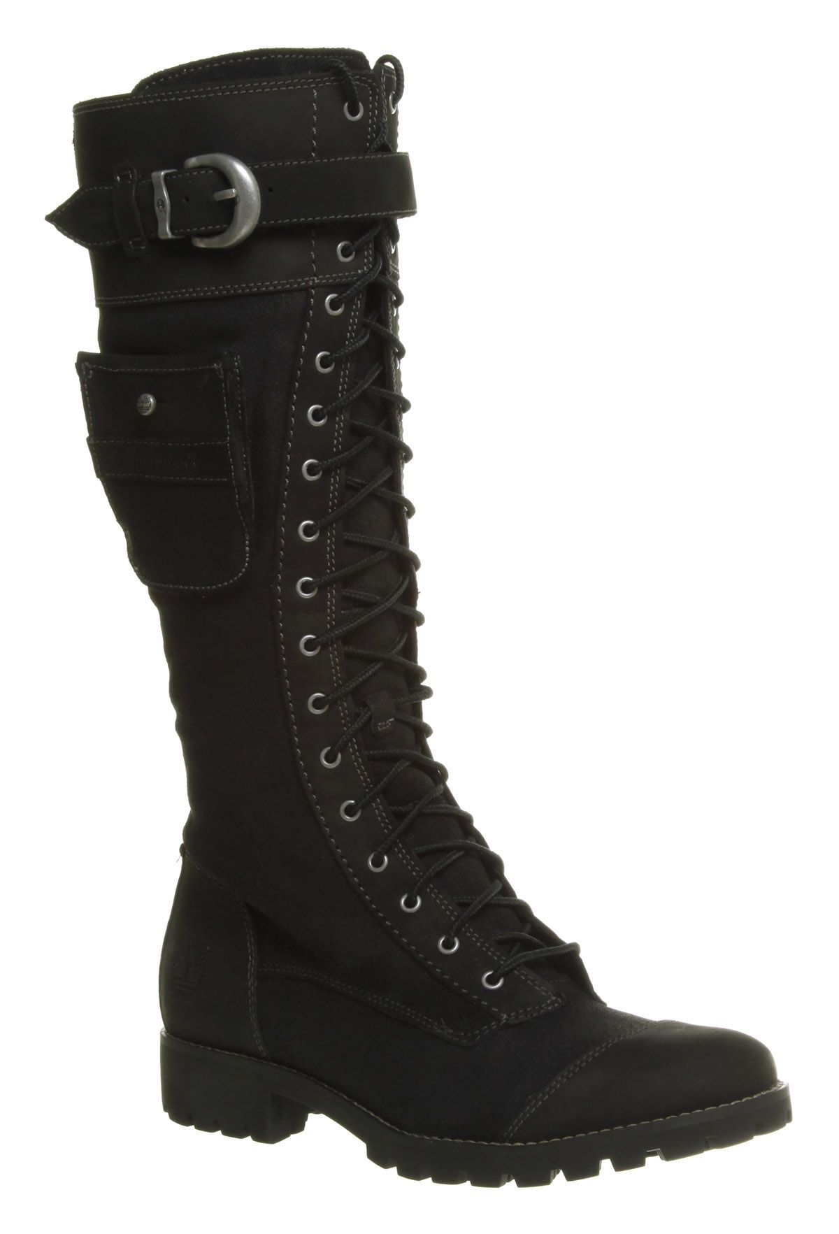 a21a28fe7df3be Women s Timberland Atrus Knee High Zip Lace Up Black Leather Boots ...
