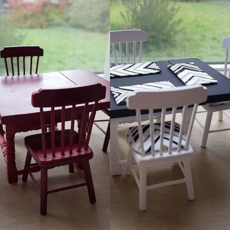 12th Doll House Miniature Rectangle Table 4 Chairs Kitchen Dining Furniture