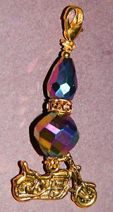 Rainbow Crystal Motorcycle Clip on Charm NEW Pendant