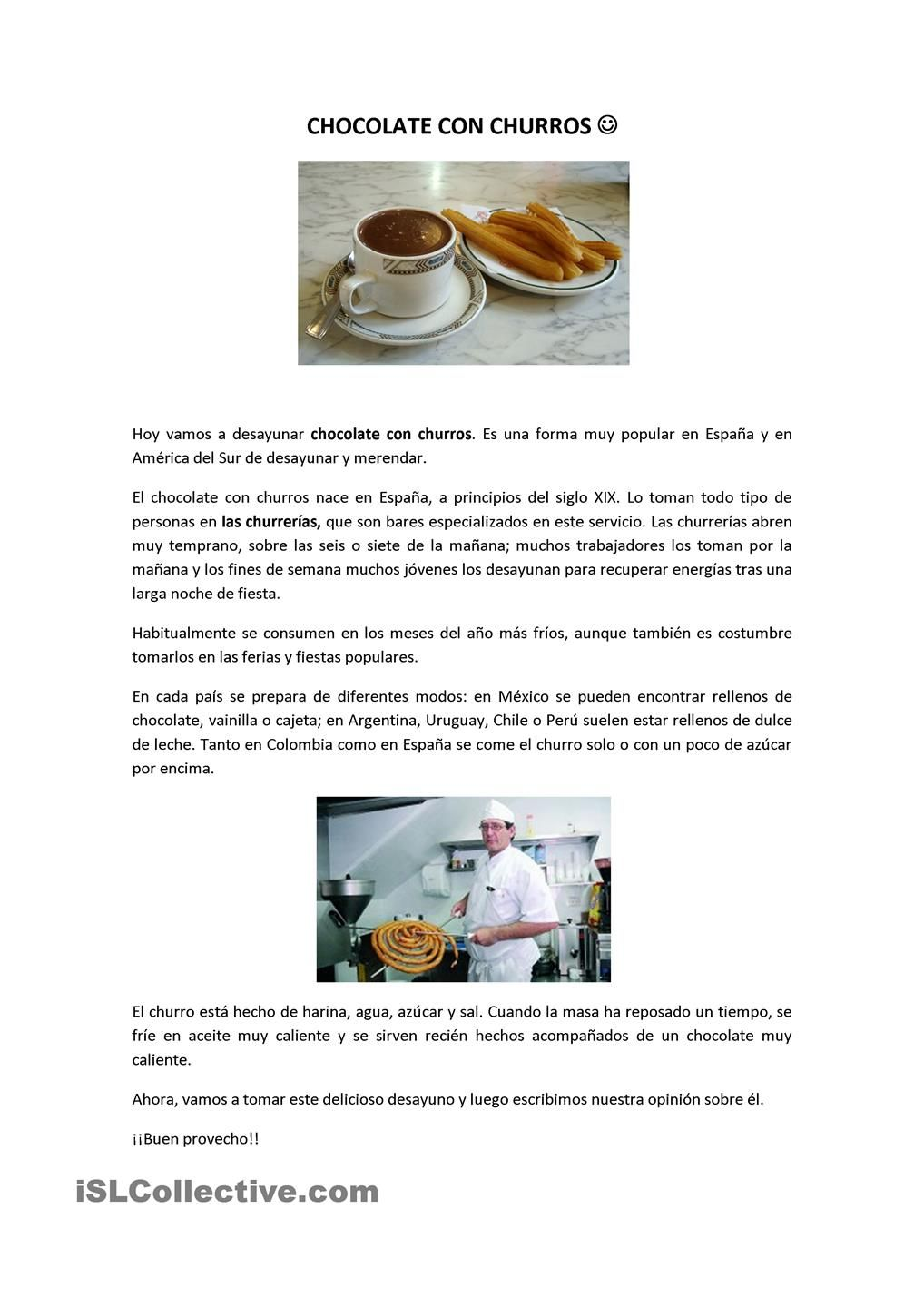 Workbooks spanish food worksheets : Chocolate con churros | Lectura | Pinterest | Churros, Spanish ...