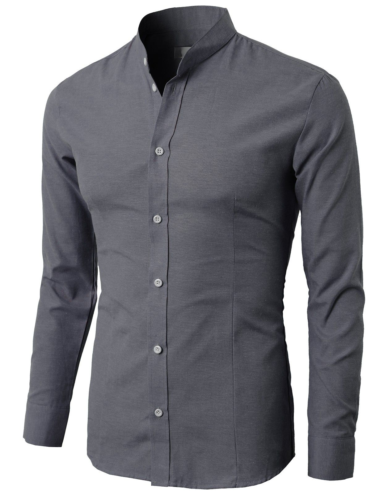 Men's Mandarin Collar Oxford Cotton Button Down Shirt ( KMTSTL033 ...