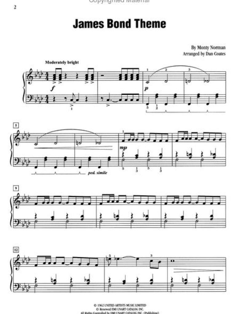 007 James Bond Theme Song Piano Music Printables In 2018