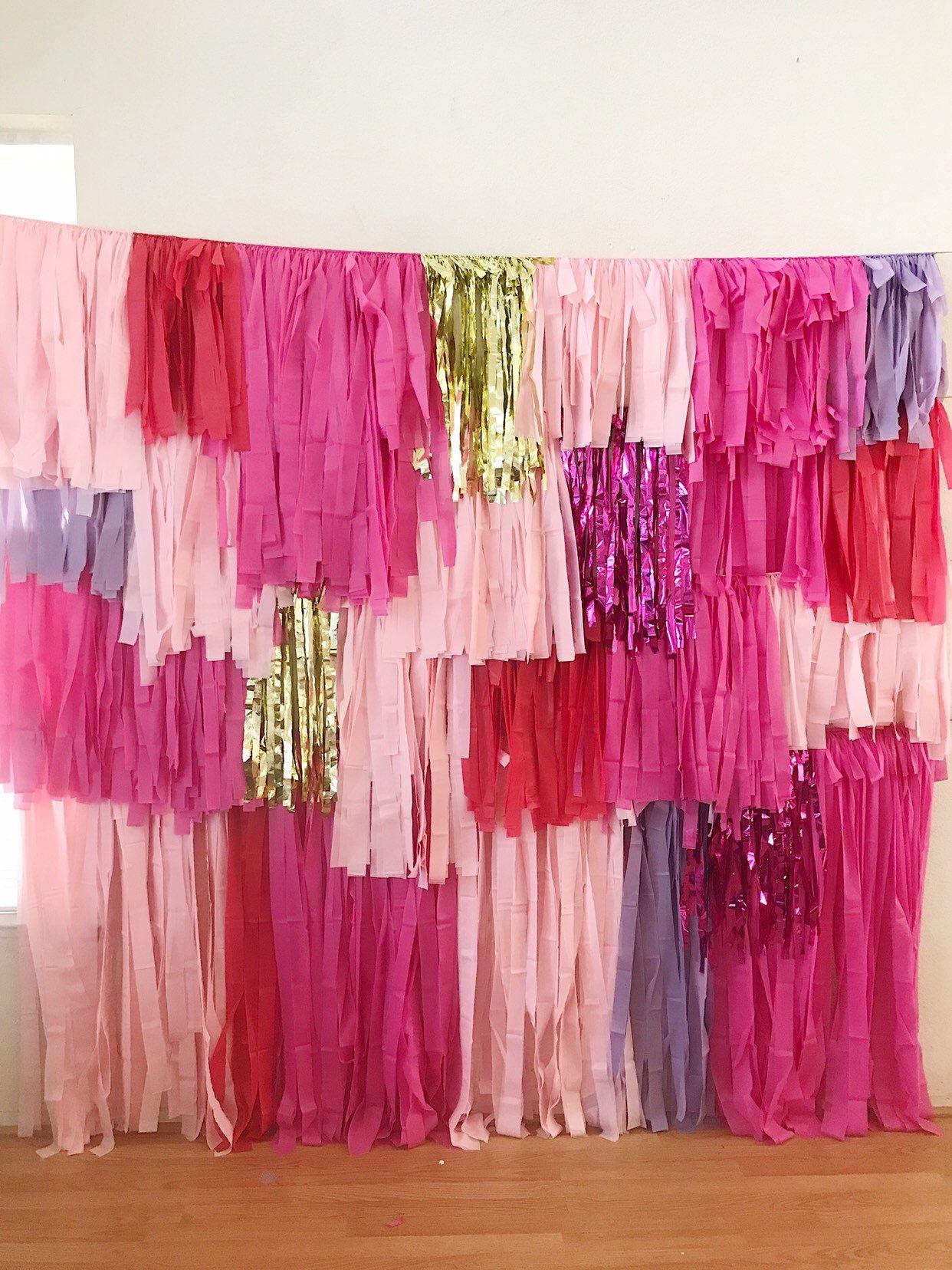 4 Piece Tablecloth Fringe Backdrop Wall, colorblock style, tassel wall, Flagtape Backdrop, streamer wall Fringe Backdrop, Birthday, Party