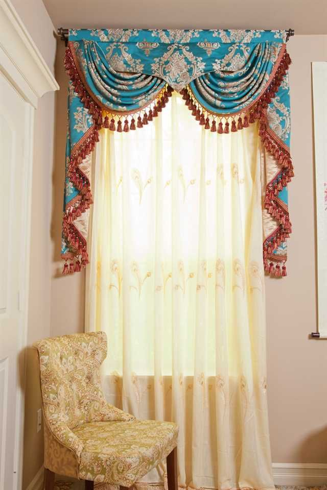 Room Design: Sweet Skyblue Peacock Style Curtain Hang In Decorative Rod To  Close Window Atyour Bedroom Or Window At Living Room Eaach Using Straight  Black ...