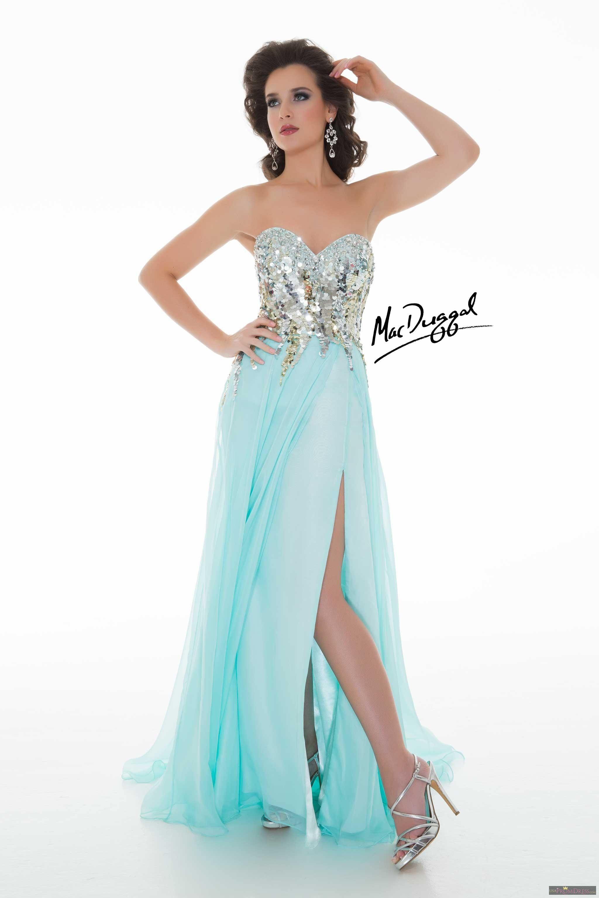 Mac Duggal Style 50116M - Strapless cross over pageant gown features a sweetheart neckline and fully embellished bodice. Flowy skirt with a sexy high slit. This glamorous dress is perfect for homecoming, prom or pageant.