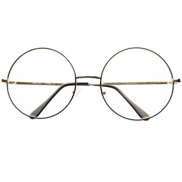 extra large clear lens retro style metal round eye glasses frames r32 liked on polyvore - Extra Large Eyeglass Frames