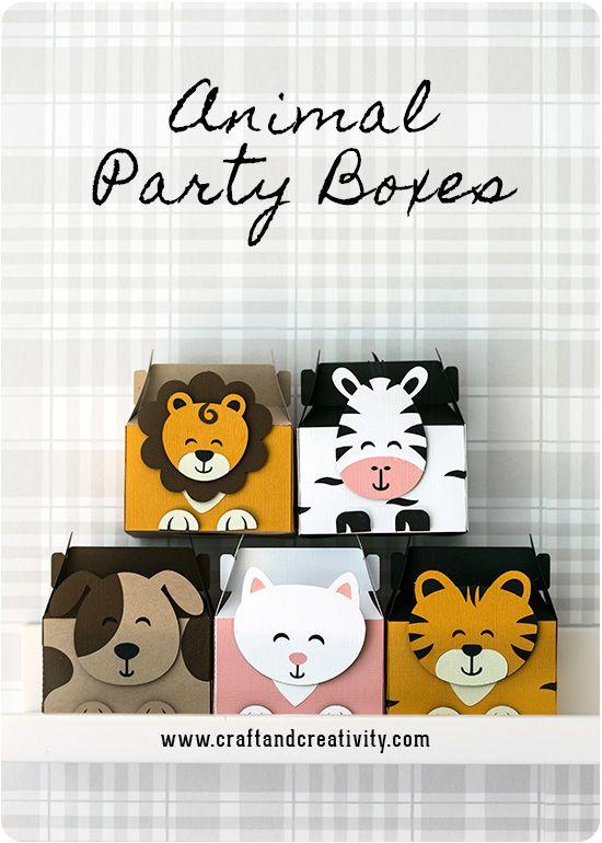 Kalasaskar Med Djurmotiv Animal Party Boxes Hacer Cajitas De Carton Caja De Carton Manualidades