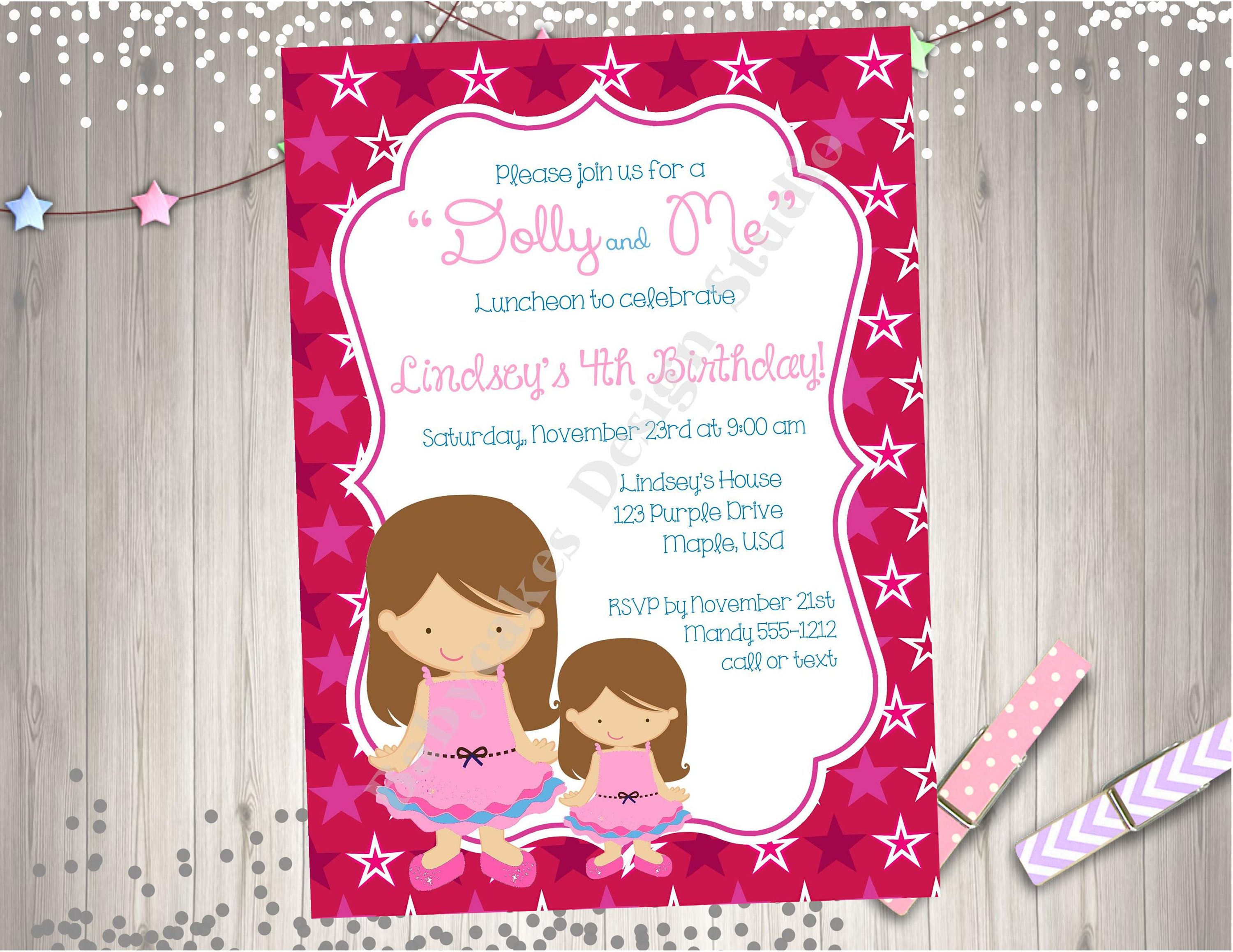 Dolly and me birthday party invitation invite birthday girl dolly dolly and me birthday party invitation invite birthday girl dolly and me tea party printable birthday stopboris Image collections