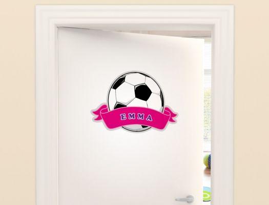 Fußball Türaufkleber für Mädchen mit Name Türaufkleber