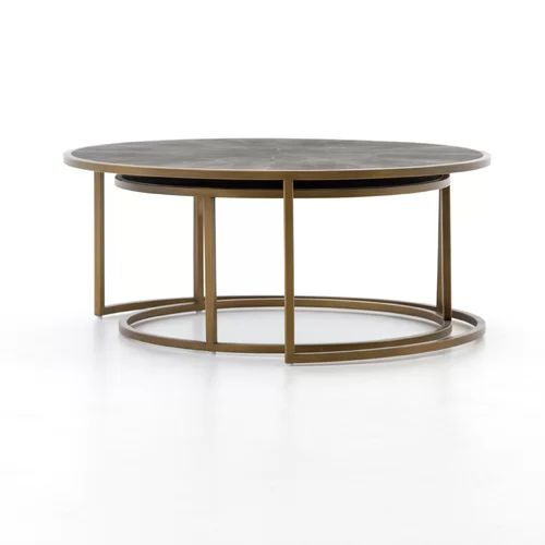 Shagreen 2 Piece Coffee Table Set Nesting Coffee Tables Round