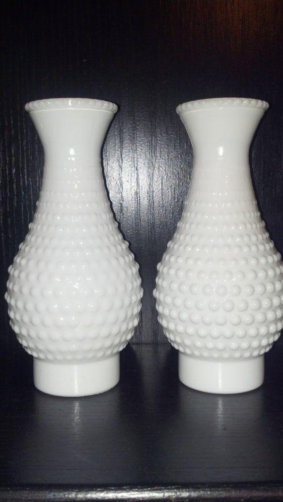 Vintage Pair Hobnail Milk Glass Hurricane Oil Lamp Shade Globes 45 99 Via Etsy Milk Glass Hobnail Milk Glass Milk Glass Lamp