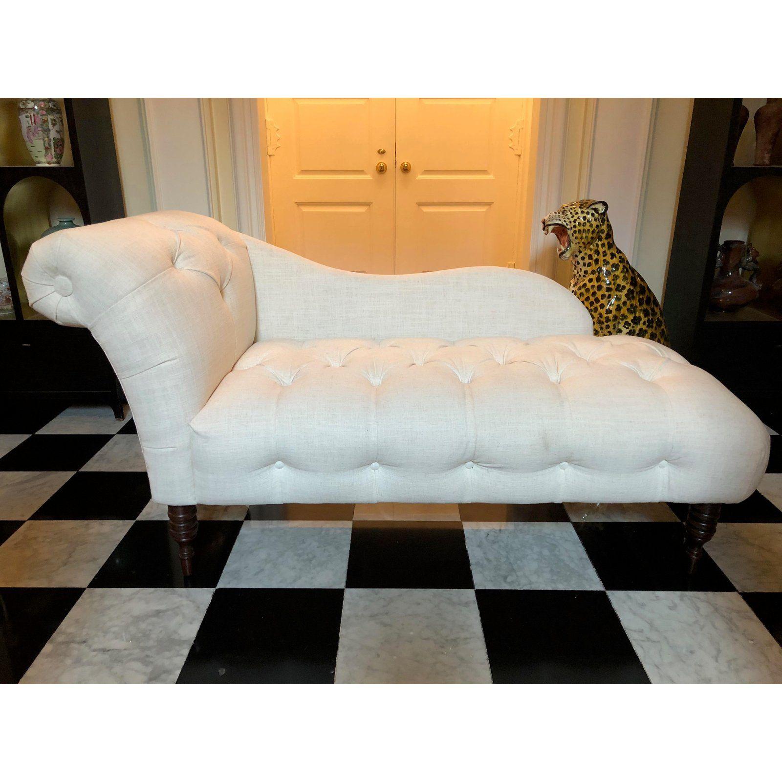 White Linen Tufted Upholstered Chaise Lounge Chaise Pinterest
