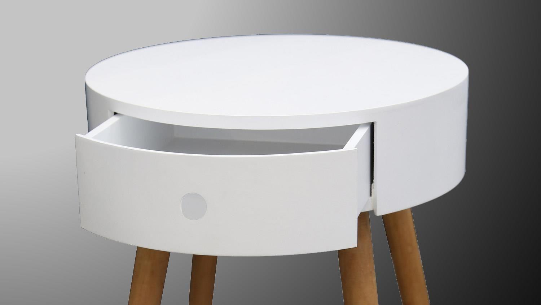 Beistelltisch JERRY Nachttisch in weiß und Massivholz