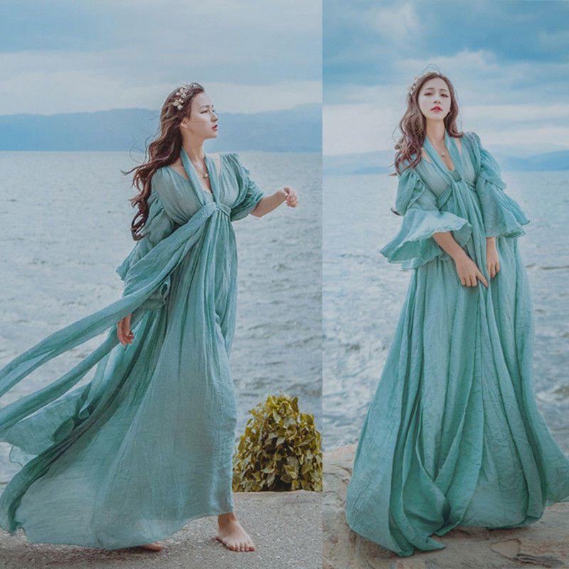b690575177070 Fairy Medieval Maxi Dress Renaissance High Waist Prom Gown Princess ...