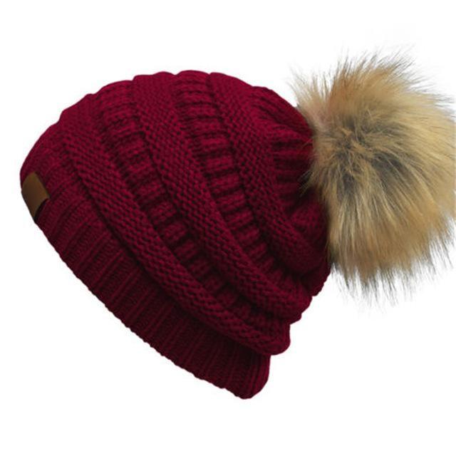 1b508b5e58b Double Layer Wool Faux Fur Pom Poms Winter Knitted Warm Cap. Double layer  Wool Faux Fur Pom Poms Winter Hats Knitted Warm Casual Hat Female Skullies  Beanies