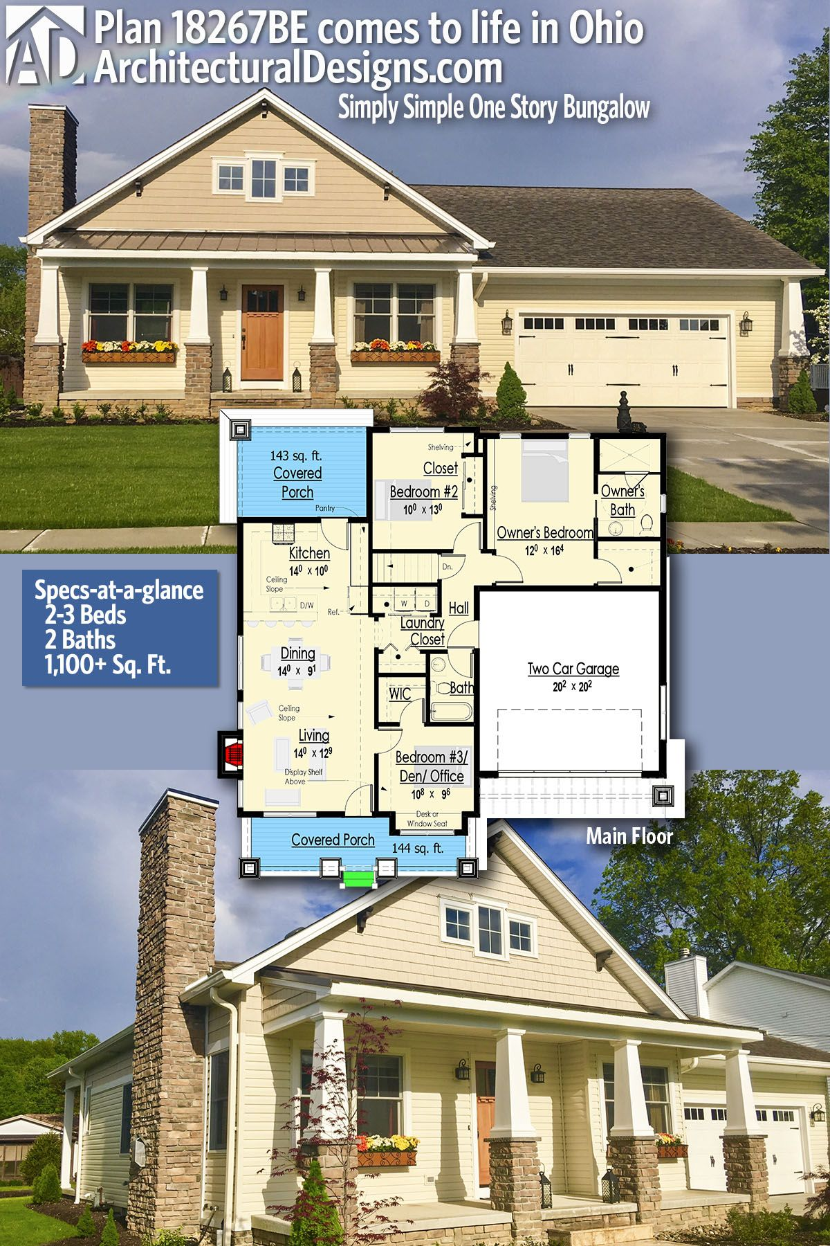 Plan 18267be Simply Simple One Story Bungalow Bungalow House Plans Facade House Craftsman House