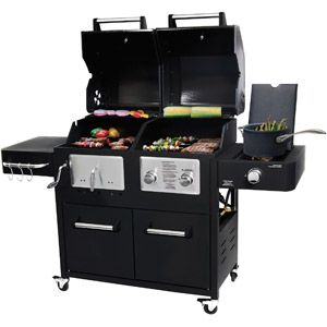 Brinkmann Dual 42 000 Btu 3 Burner Gas Charcoal Grill With Side Black