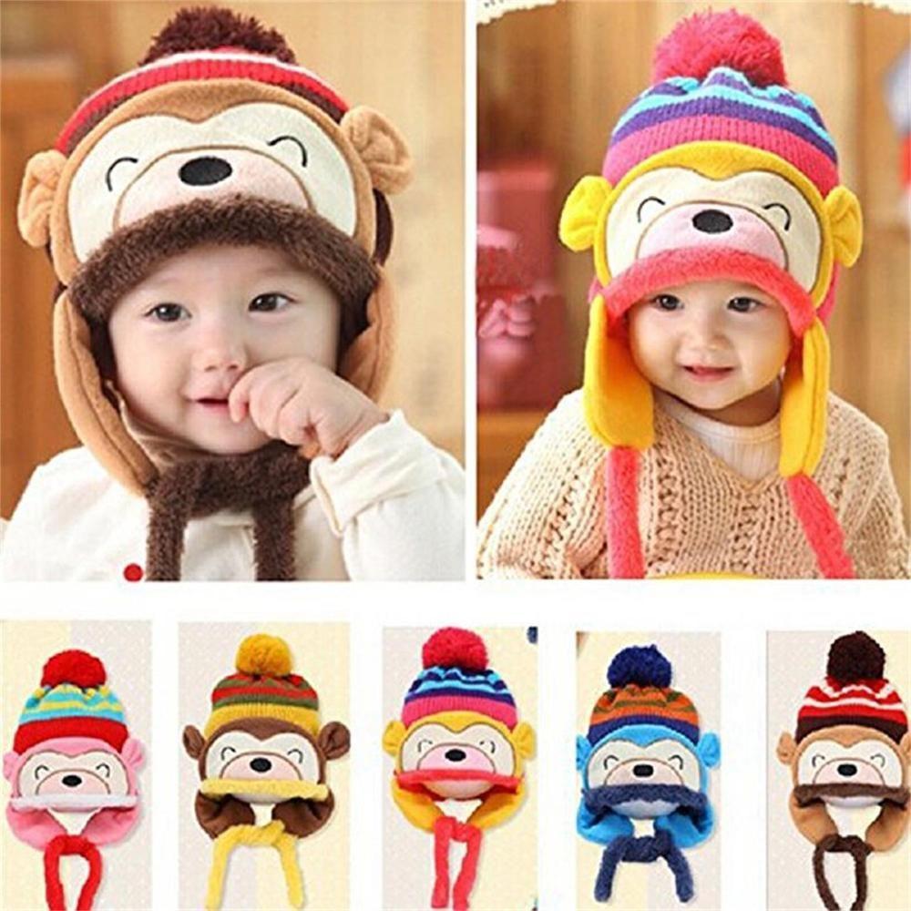 Baby Toddler Winter Warm Monkey Beanie Hat Earflap Knitted Cap Girl Boy Kids New