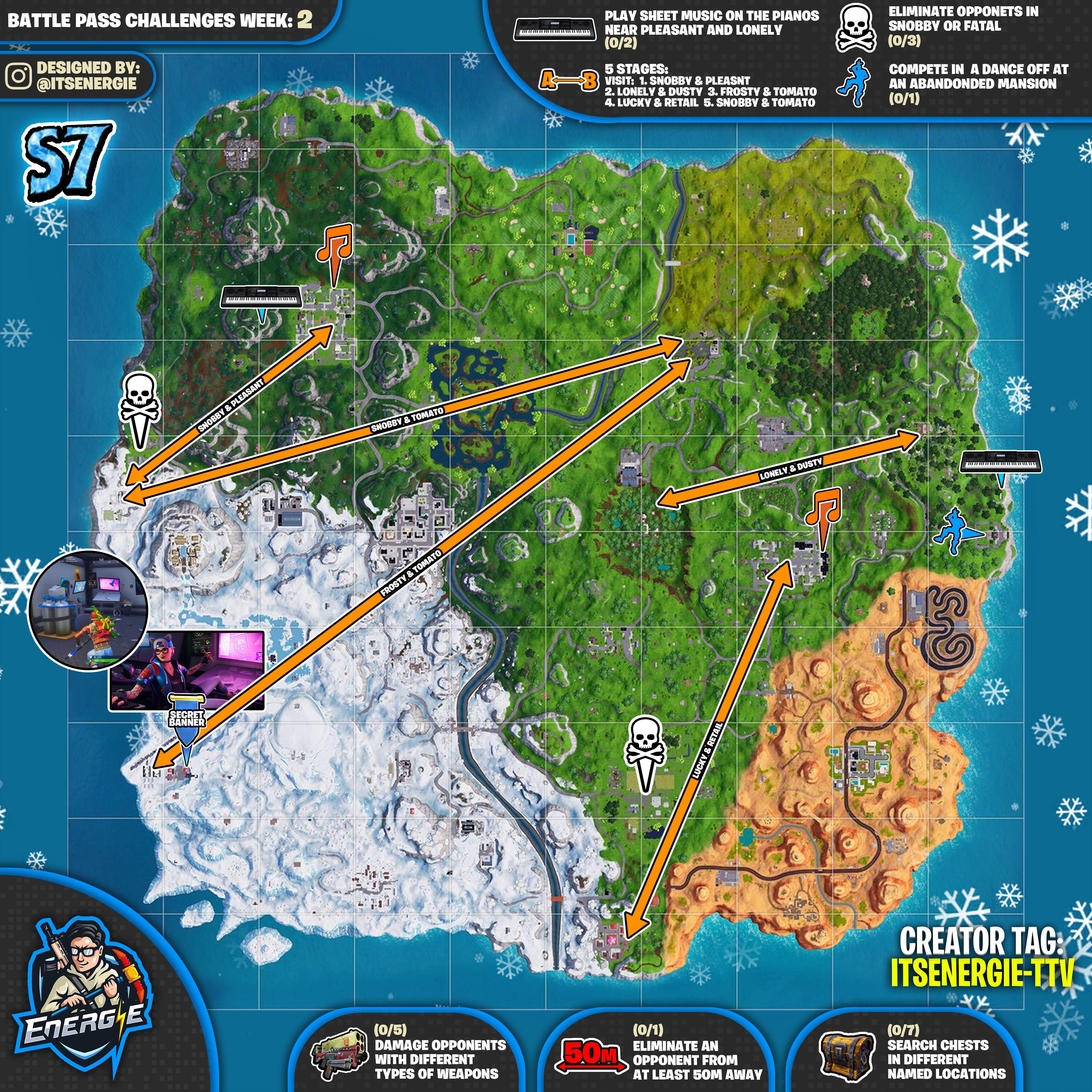 Fortnite Cheat Sheet Map For Season 7 Week 2 Challenges The Fortnite