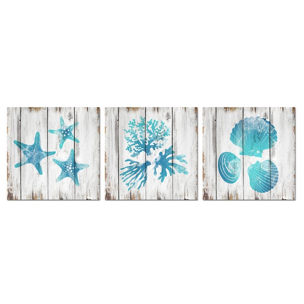Visual Art Decor Unframed Canvas Prints Teal Blue Bathroom Wall Decor Seashell Coral Starfish Decor Painting Ocean Sea Pictures In 2020 Teal Wall Decor Seashell Wall Decor Starfish Wall Decor