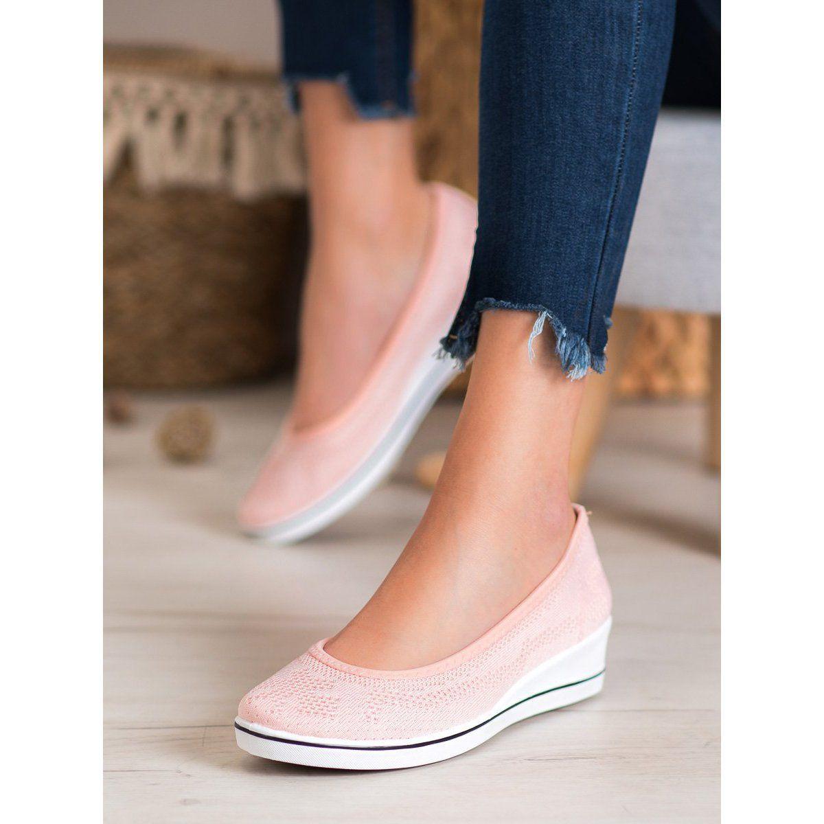 Super Me Azurowe Baleriny Na Koturnie Rozowe In 2020 Slip On Sneaker Shoes Slip On