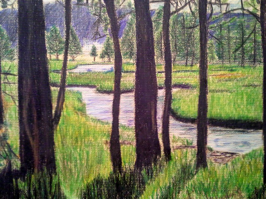 Landscape Drawings in coloured Pencil | landscape in color ...
