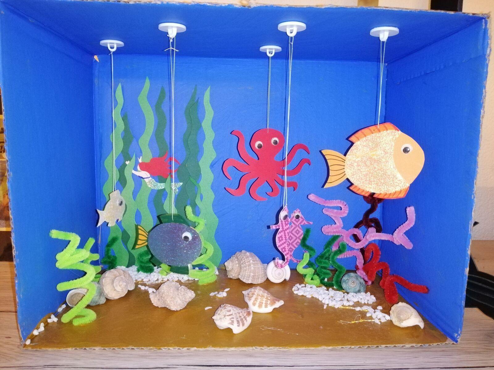 Mein Aquarium In 2020 Fische Basteln Sommerliche Bastelarbeiten Mobile Basteln Mit Kindern