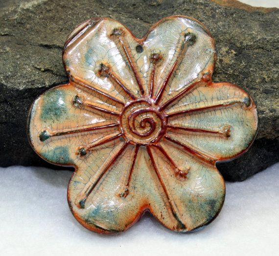 Polymer clay Handmade large faux ceramic flower, gear or Focal pendant, 52mm, blue, brown, antiqued aged worn rustic, jewelry component