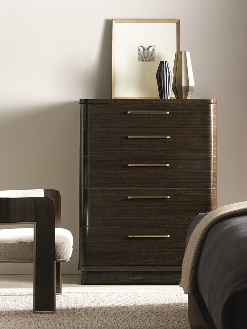 Caracole Modern Streamline Chest Generously Rounded Corners Recessed Plinth Base Sleek Facade And Retro Era Metal Hardware Help This Chest Caracole