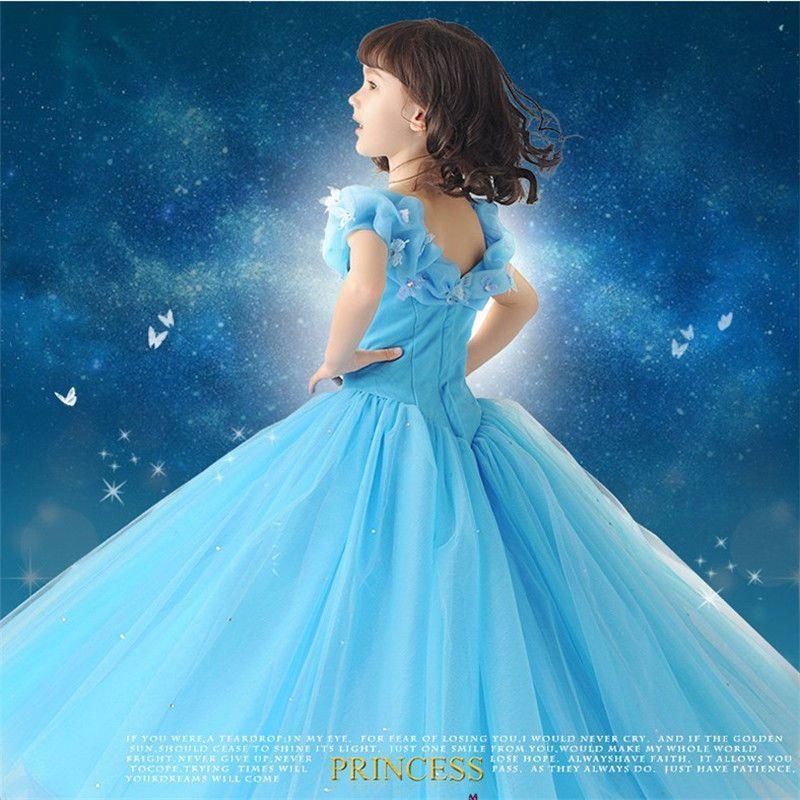 Kids Cinderella Princess Wedding Flower Girl Dress Formal Party Ball Gown Blue