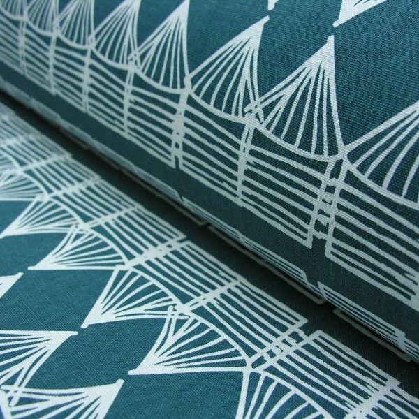 A Hutz Petrol Blue Design 50% cotton/50% linen