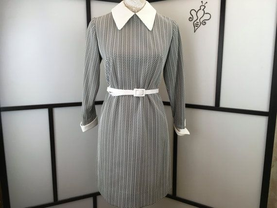 Black and White Dress Vintage Collared by InBeetweenVintageCo
