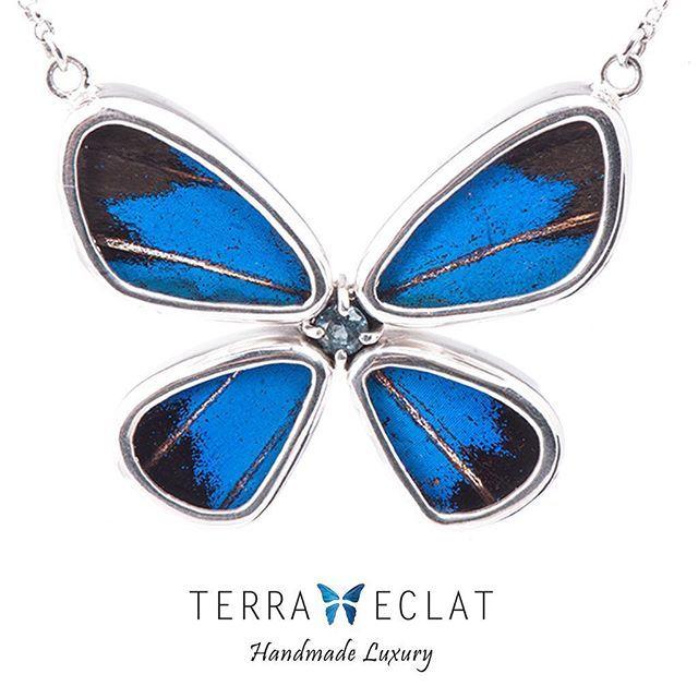 سلسال من أجنحة الفراشات الحقيقية بابيليو يوليسيس على شكل فراشة كاملة مع حجر