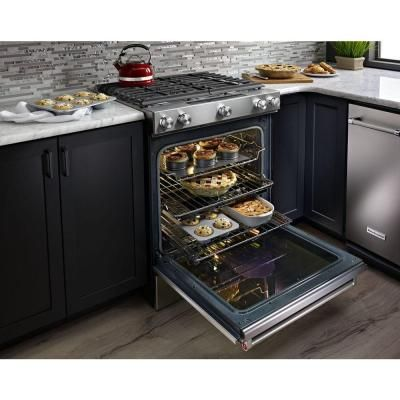 KitchenAid 30 In. 6.5 Cu. Ft. Slide In Gas Range With Self Cleaning Convection  Oven In Stainless Steel KSGB900ESS   The Home Depot