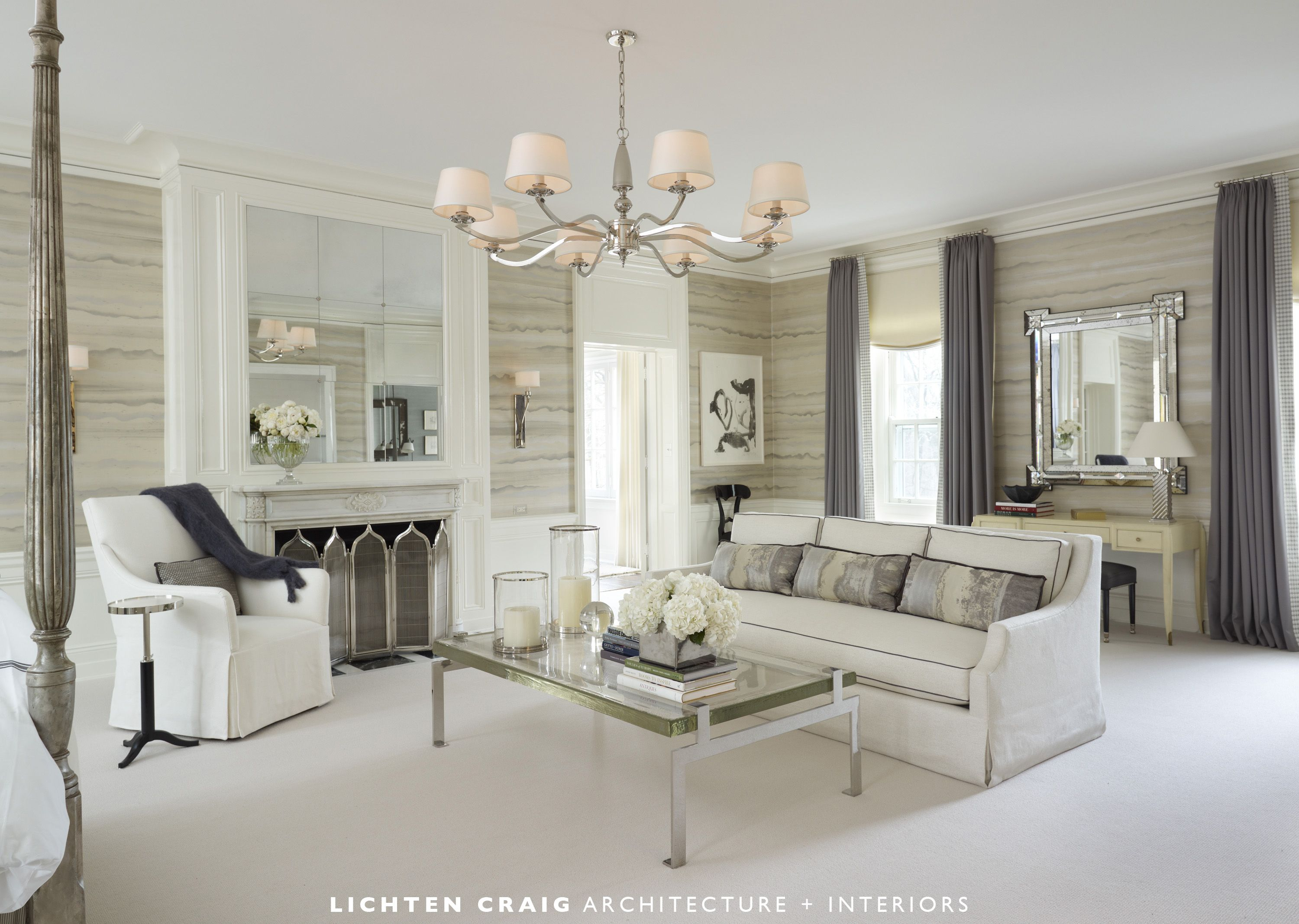 modern and tranquil design of the master bedroom for the lake forest showhouse by lichten craig