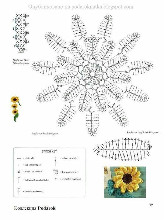 Girasol | flores crochet | Pinterest | Girasoles, Flores y Ganchillo