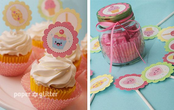 Cupcake Toppers Kawaii Sweets or favor tags and by paperglitter