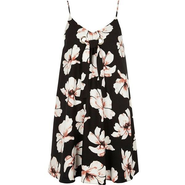 41392a48d8 River Island Black floral print tie front slip dress (460 MXN) ❤ liked on  Polyvore featuring dresses