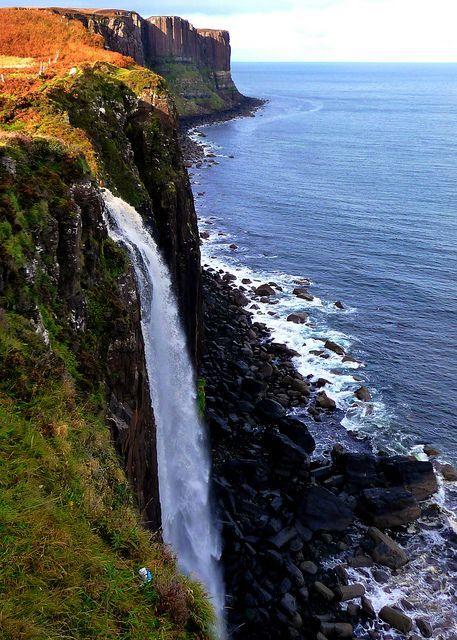 Kilt Rock Waterfall in Isle of Skye, Scotland (by bearded iris).
