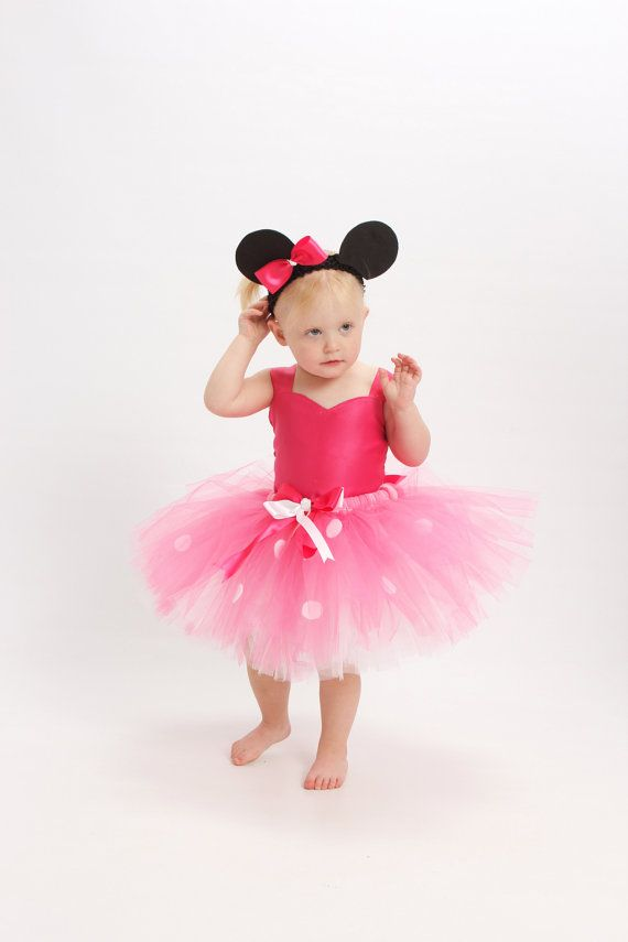 Minnie Mouse Tutu dress - Pink & White Tutu and Hot Pink satin top for Baby, Toddler, Girl includes Mouse ears headband (size NB-4T)