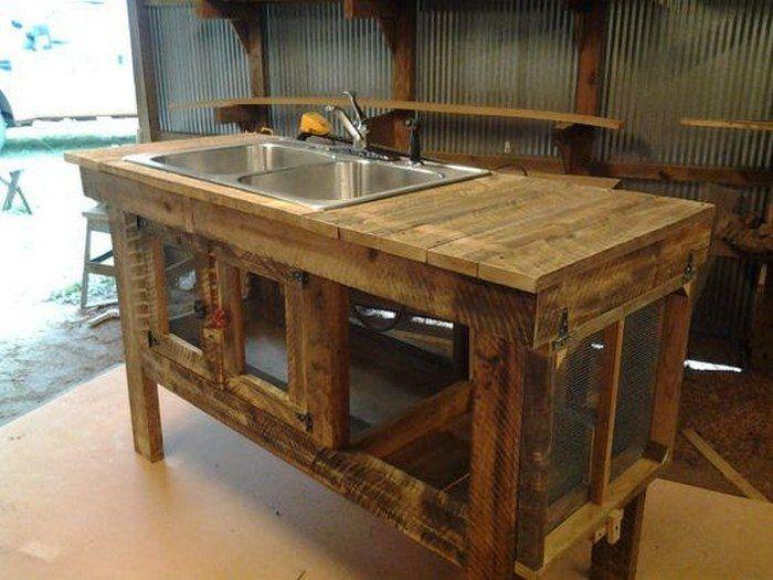 Pallet Kitchen Sink Idea Outdoor Sinks Rustic Outdoor Kitchens Outdoor Kitchen