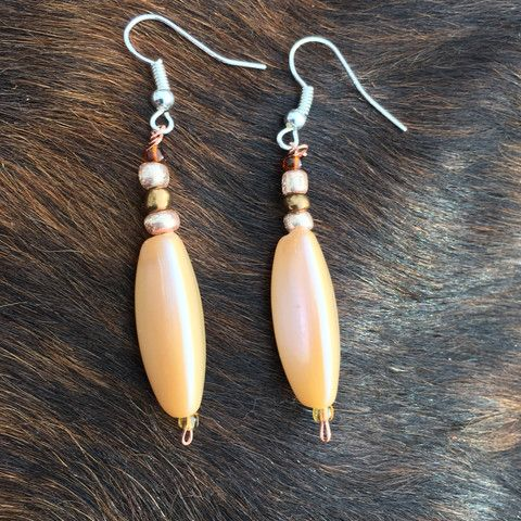 Long, Champagne Colored, Glass Seed Beads and Copper Wire Earrings