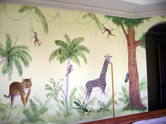 Kids Bedroom Jungle Theme jungle children's mural.jungle theme is suitable for boys , girls
