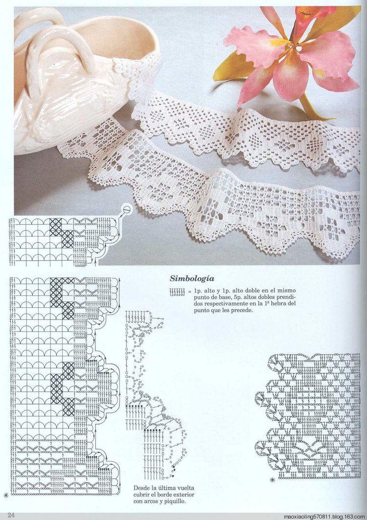 Crochet lace #11 ♥LCE♥ with diagram | puntilla | Pinterest ...