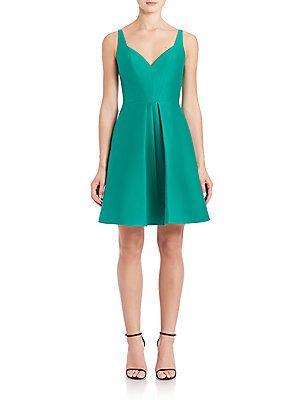 Halston Heritage Cotton & Silk Structured Fit-&-Flare Dress