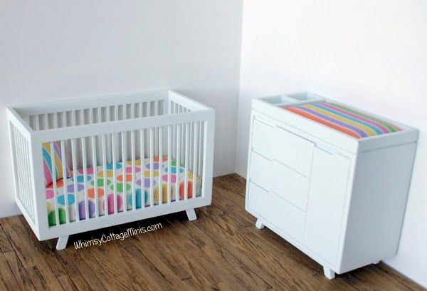 1 12 Modern Dollhouse Crib And Changing Table Dollhouse