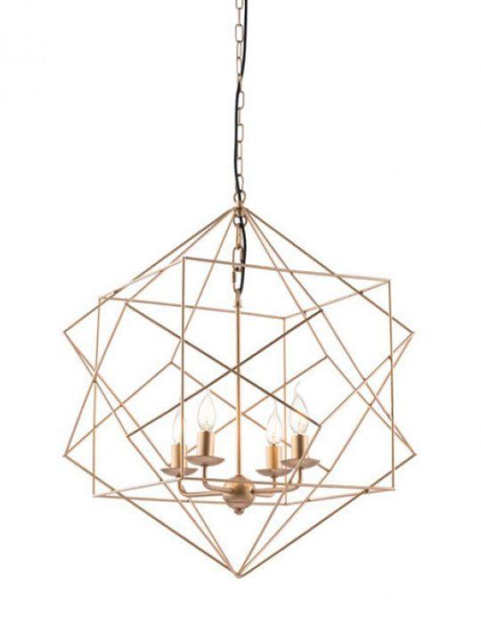 Gold Wire Geometric Pendant Light | Gold wire, Pendant lighting ...