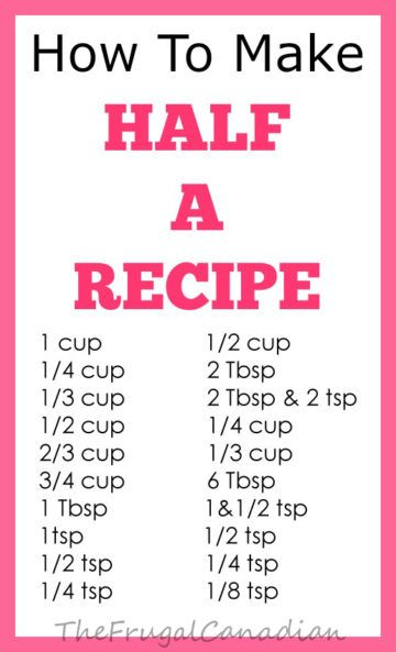How To Make Half A Recipe Measurements Chart Sheet Making Half A Recipe Recipe Measurements Baking Measurements
