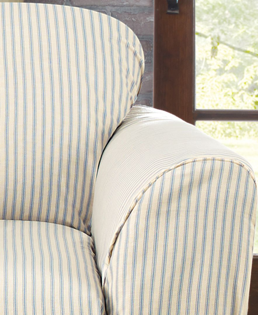 Simple And Streamlined, The Ticking Stripe Chair Slipcover From Sure Fit  Provides A Classic Look